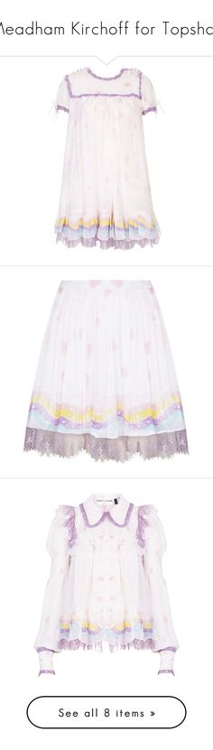 """""""Meadham Kirchoff for Topshop"""" by crybabying ❤ liked on Polyvore featuring dresses, meadham kirchhoff, pink, pink dress, white babydoll dress, white baby doll dresses, pink baby doll dress, topshop dresses, skirts and mini skirts"""