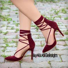 Armisa Süet Bordo İpli Stiletto Ayakkabı