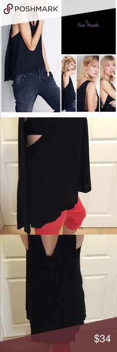 Free People black rayon/linen layer look tank szM Black is best because you can do so many things with it! EUC summer tank can be worn with a tank or bra of a different color to add some pop. It's such an different, interesting cut & sooo comfortable. Size medium but can go lower or higher depending on your tightness style. Free People Tops Tank Tops