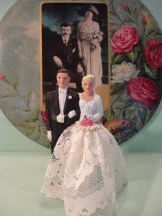 1950s Chalkware Wedding Cake Topper by Pfheil & Holding.