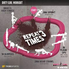 Dirty Girl Workout: Obstacle and Mud Fitness Tough Mudder Training, Race Training, Training Tips, Cross Training, Cardio Yoga, Fitness Motivation, Fitness Tips, Health Fitness, Tribe Sports