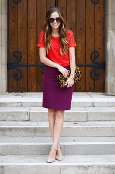 Fun color combo: red & purple outfit