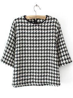 Blusa crop cuello redondo pata de gallo-blanco y negro