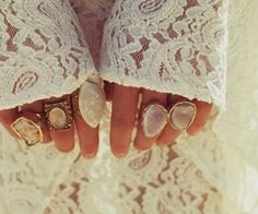 rings & lace! Clear quartz, moonstone, mother of pearl
