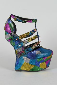 rivileged Rush Multicolor Metallic Heel Less Studded Spike Curved Wedge $89