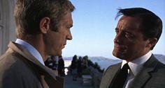Steve McQueen in Bullitt (1968) with Robert Vaughn