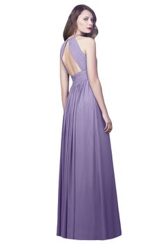 A beautiful cut out back adds an unexpected and modern touch to this A-line bridesmaid dress.
