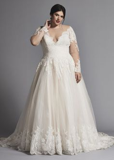 22 Designer Plus-Size Wedding Dresses That Prove Your Body is Perfect As-Is A-Line Lace Wedding Dress with Illusion Long Sleeves by Danielle Caprese — 22 Pus-Size Designer Gowns that Prove Your Body is Perfect As-Is Plus Size Wedding Dresses With Sleeves, Plus Size Wedding Gowns, Long Wedding Dresses, Bridal Dresses, Modest Wedding, Boho Wedding, Wedding Dress Necklace, Plus Size Brides, Curvy Bride