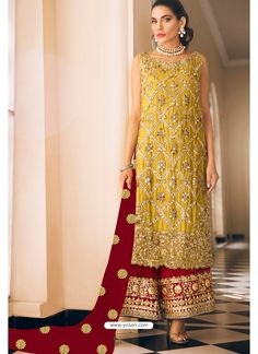 Yellow And Red Georgette Party Wear Designer Suit
