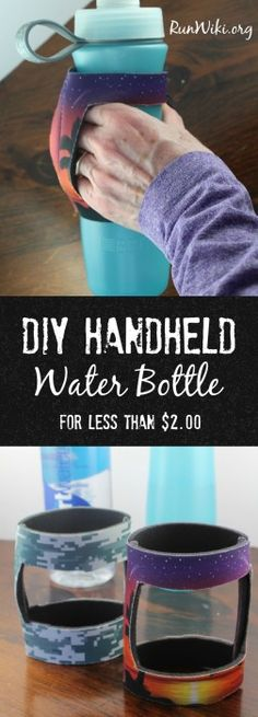 DIY Handheld Water Bottle Holder for runners. These homemade bottle holders take 10 minutes to make and cost under 2 dollars to make. They are even popular with my kids. half marathon tips