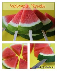 Watermelon Popsicles Recipe - After school snacks, Just slice the watermelon and cut the skin a bit and stick a popsicle stick in the hole!