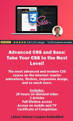 Advanced CSS and Sass: Take Your CSS to the Next Level! The most advanced and modern CSS course on the internet: master animations, flexbox, responsive design, and so much more. #css