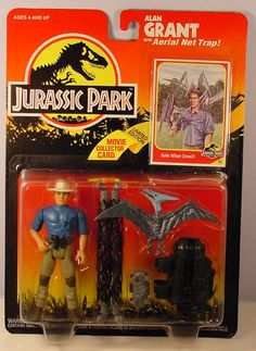 "Jurassic Park Merchandise - Grant and pteranodon --- Julie says: ""I had the blue Pteranodon toy when I was 6. He was one of my fav toys and I brought him everywhere. I named him Petrie. :)  """