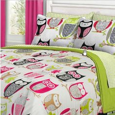 zebra owl bedroom | Owl bedding with neon green and pink accents. Zebra and leopard ...