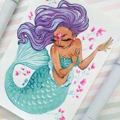Black mermaid spring love || original drawing || african anerican cute art ||kawaii art || 5x7 orginal art || copic marker drawing