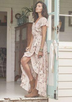 Auguste -Valentines Muse Maxi Dress Vintage Blooms Musk-Boho Dress