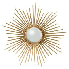 Sunburst Wall Mirror, Gold