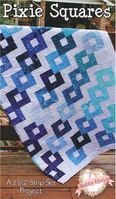 "Pixie Squares: This fun modern quilt uses a wide variety of fabrics and just four blocks!  Pattern includes instructions for five sizes: 44"" x 56"", 60"" x 60"", 62"" x 78"", 72"" x 96"", and 92"" x 92"".  Jelly roll friendly."