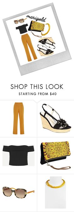 """""""When You Wish Upon A Marigold"""" by victoria-styling ❤ liked on Polyvore featuring Polaroid, Rosie Assoulin, Anne Klein, Tory Burch and Simon Sebbag"""