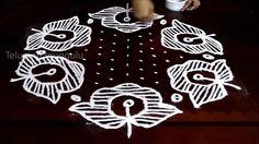 Sankranthi Flowers kolam designs with15-8 middle | chukkala muggulu with...