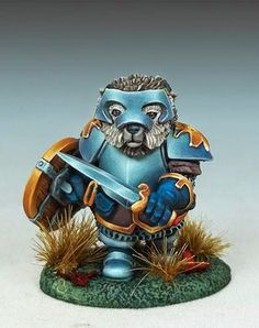 Hedgehog Knight with Sword/Shield - Critter Kingdoms™ Anthropomorphic Animals - Miniature Lines Miniature Bases, Demi Human, Pewter Metal, Fantasy Miniatures, Sword, Hedgehog, Knight, Lion Sculpture, Hero