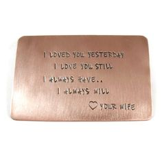 Personalized Copper Wallet Insert by CharitableCreations on Etsy, $39.95