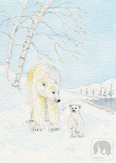 Mom and Baby Polar Bear Walking Nursery Animal Print