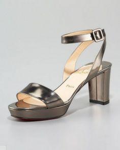 4e98f3810d84 Christian Louboutin Echasse Ankle-Wrap Platform Pewter Sandal - Click Image  to Close