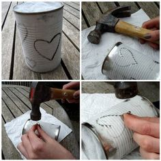 DIY tin can lanterns. J+J on each and put one of the candles I bought in each! Ideias Diy, Diy Projects To Try, Cool Diy, Easy Diy, Diy Art, Diy Gifts, Fun Crafts, Diy Home Decor, Room Decor