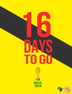 World Cup Countdown: 16 days to go Go Brazil, Day Countdown, Football Is Life, World Cup, Olympics, Typography, Birthday, Movie Posters, Letterpress