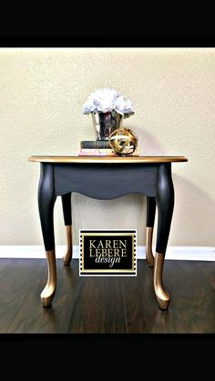 Karen LeBere Design Black Gold Nightstand/Side Table/End Table Crisp and distinctive this Black and gold dipped feet. Chic Home Decorative Furniture Gold Leaf Furniture, Diy Furniture Table, Western Furniture, Refurbished Furniture, Paint Furniture, Repurposed Furniture, Furniture Projects, Furniture Makeover, Furniture Design