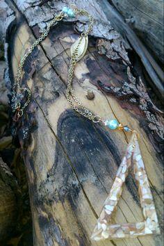 Handmade Swarovski crystal and crushed shell pendant necklace on Etsy, $40.00