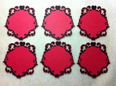 Lacy Piece Set of Very Elegant and Romantic Red/Black Love You Lacy Label Scrapbooking Die Cut Black Love, Homemade Cards, Valentines Day, Label, Crafting, Paper Crafts, Romantic, Scrapbook, Tags