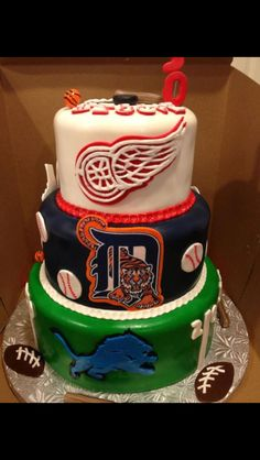 Michigan professional sports teams cake. Detroit Red Wings, Tigers, Lions. Hockey, Baseball, and Football fans.