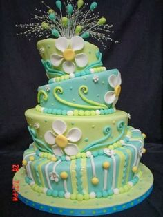 """How To Make a Topsy-Turvy Whimsical Cake. a friend of mine had a """"learn to make a topsy turvy cake"""" party where we played with this idea - it was tons of fun! Now I just have to make the cake for real! Gorgeous Cakes, Pretty Cakes, Cute Cakes, Amazing Cakes, Take The Cake, Love Cake, Daisy Cakes, Cake Central, Crazy Cakes"""