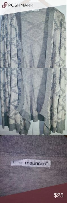 Maurices Comfy Cardigan Gray &White Drape in the front cardigan. Very Posh for fall & winter months ahead. Great condition. Maurices Sweaters Cardigans