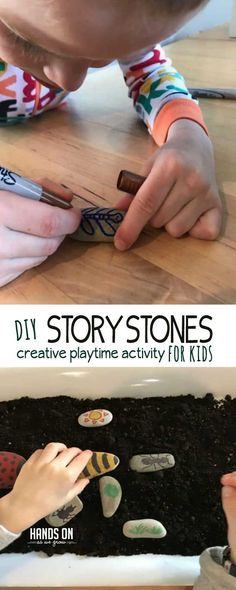 Make your own set of insect story stones with this fun tutorial! Tell imaginative stories with your child or just watch their creative play. It's easy to make these DIY story stones with supplies you have at home already.