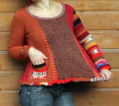 Fantasy patchwork sweater, via Etsy.