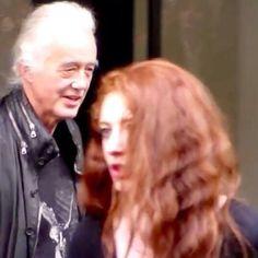 Jimmy Page and his girlfriend Scarlett Sabet, in Paris June 24, 2015.