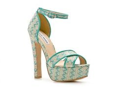 Super cute! Steve Madden turquoise chevron print sandals from DSW. by leonor