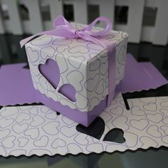 Amazon.com - Crazy Genie 50pcs Hollow Out Love Heart Bowknot Pattern Wedding Favor Boxes Souvenir Candy Box Baby Shower Gift Box Chocolate Box for Wedding Party Supplies (Purple) -