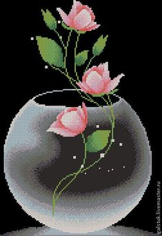 The scheme for embroidery by beads 'Роза in вазе' - the scheme of beadwork, the scheme a rose in a vase Butterfly Cross Stitch, Cross Stitch Bird, Modern Cross Stitch, Cross Stitch Flowers, Cross Stitch Charts, Cross Stitch Designs, Cross Stitching, Cross Stitch Embroidery, Cross Stitch Patterns