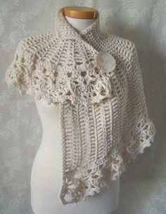 Can't find this pattern on the link but I was going to do steampunk I think this would be cool Free Vintage Crochet Poncho Pattern Crochet Capelet Pattern, Crochet Bolero, Crochet Poncho Patterns, Crochet Shawls And Wraps, Crochet Scarves, Crochet Clothes, Knit Crochet, Knit Lace, Crochet Beanie