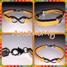 Bracelet#bracciale#jewels#infinito#strass#charms#handmade#alcantara#colori#bijoux#gialloocra#