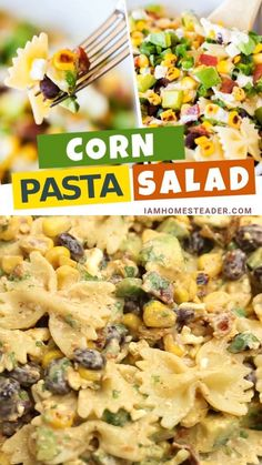 This amazing Corn Pasta Salad is loaded up with fresh crisp veggies, roasted sweet corn, thick cut bacon, and a tangy chili-lime dressing. Veg Pasta Recipes, Pasta Recipes Video, Mexican Food Recipes, Vegetarian Recipes, Cooking Recipes, Ethnic Recipes, Sweet Corn Recipes, Vegetarian Grilling, Healthy Grilling