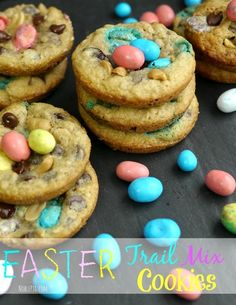 Easter Trail Mix Cookies. These will brighten up your Easter dessert buffet table from NoblePig.com.
