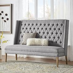 Shop for Furniture of America Good Modern Ivory Linen Fabric Loveseat Bench. Get free delivery On EVERYTHING* Overstock - Your Online Furniture Store! Get in rewards with Club O! Entryway Bench Storage, Upholstered Storage Bench, High Back Bench, Banquette Bench, Kitchen Bench Seating, Kitchen Banquette, Kitchen Dinning, Kitchen Redo, Kitchen Ideas