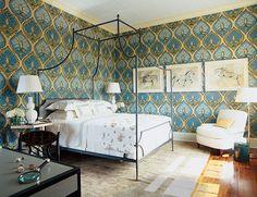Romantic wallpapered bedroom