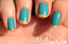 beach nails; turquoise and gold