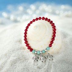 Coral Bead Bracelet Turtle Charm Stretch Bracelet Red